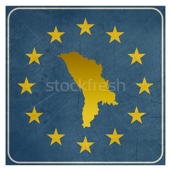 Moldova európai felirat izolált fehér csillagok Stock fotó © speedfighter