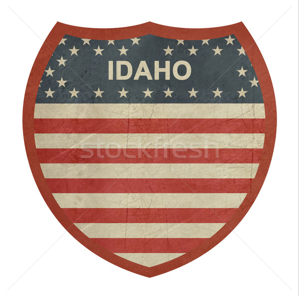 Grunge Idaho amerikan eyaletler arası otoyol işareti yalıtılmış Stok fotoğraf © speedfighter