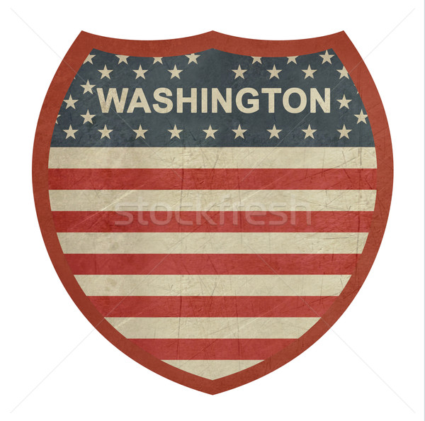 Stockfoto: Grunge · Washington · amerikaanse · interstate · wegteken · geïsoleerd