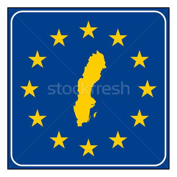 Svezia cartello stradale pulsante isolato bianco Foto d'archivio © speedfighter