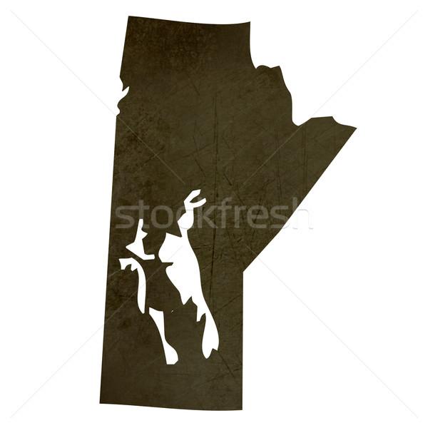 Dark silhouetted map of Manitoba Stock photo © speedfighter
