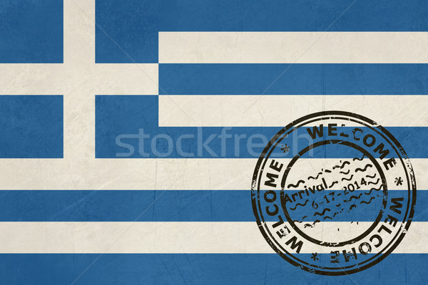 Welcome to Greece flag with passport stamp Stock photo © speedfighter