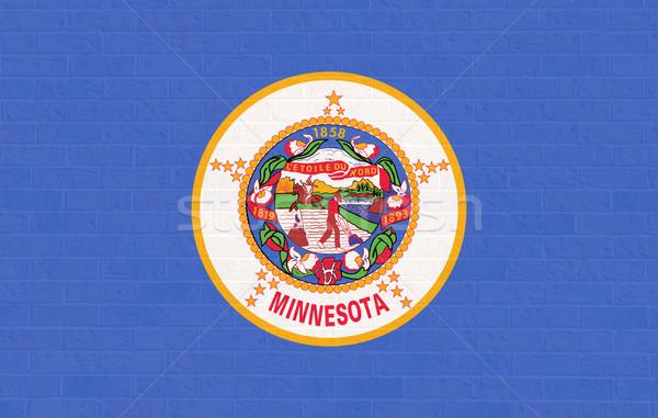 Minnesota bayrak tuğla duvar Amerika yalıtılmış beyaz Stok fotoğraf © speedfighter