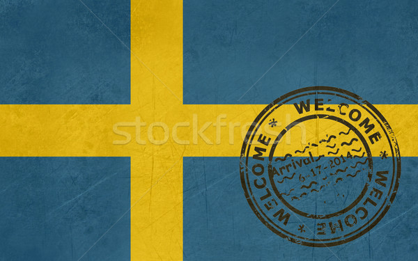 Welcome to Sweden flag with passport stamp Stock photo © speedfighter