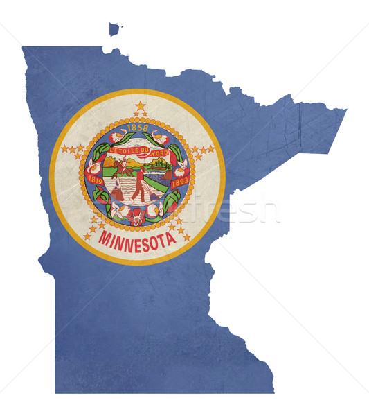 Grunge Minnesota bandeira mapa isolado branco Foto stock © speedfighter