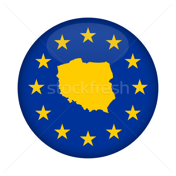Pologne carte européenne Union pavillon bouton Photo stock © speedfighter