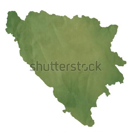 Bósnia-Herzegovina mapa verde papel velho isolado Foto stock © speedfighter