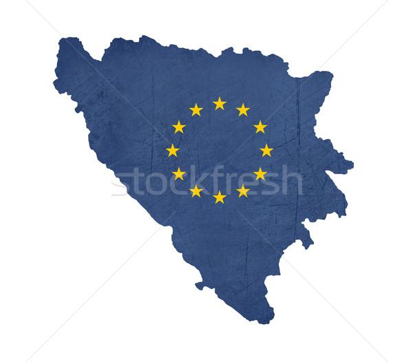 Europeu bandeira mapa Bósnia-Herzegovina isolado branco Foto stock © speedfighter