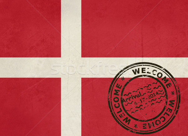 üdvözlet Dánia zászló útlevél bélyeg utazás Stock fotó © speedfighter