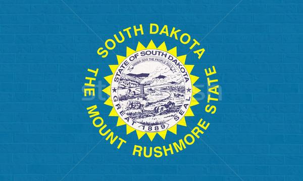 Dél-Dakota zászló téglafal Amerika izolált fehér Stock fotó © speedfighter