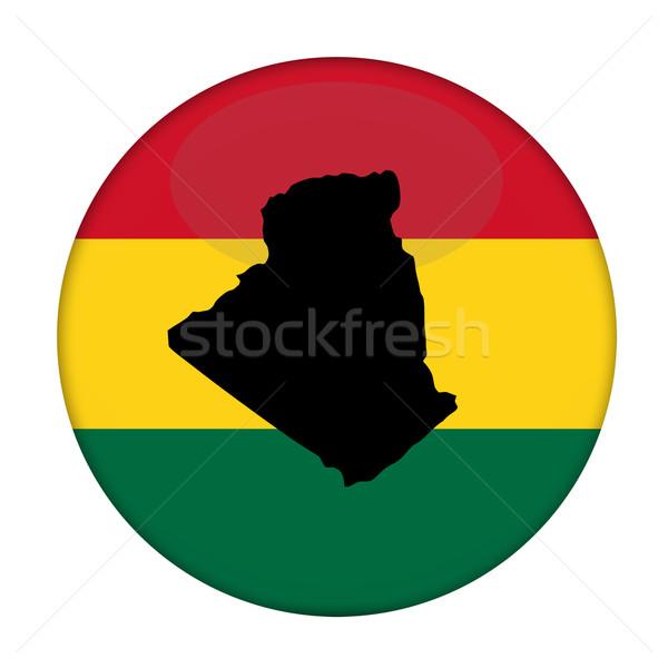 Algeria map on a Rastafarian flag button Stock photo © speedfighter