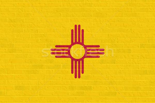 Нью-Мексико флаг кирпичная стена иллюстрация Соединенные Штаты Америки Сток-фото © speedfighter