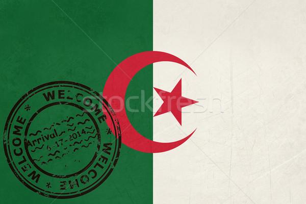 Bienvenue Algérie pavillon passeport tampon Voyage Photo stock © speedfighter