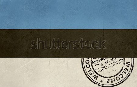 Welcome to Estonia flag with passport stamp Stock photo © speedfighter