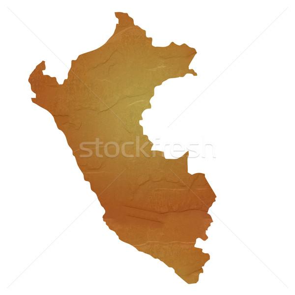 Mapa Peru marrom rocha pedra Foto stock © speedfighter