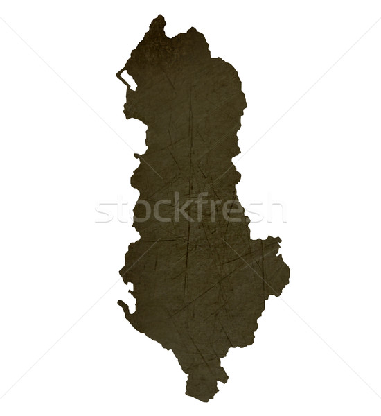 Escuro mapa Albânia isolado branco Foto stock © speedfighter