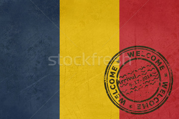Welcome to Chad flag with passport stamp Stock photo © speedfighter