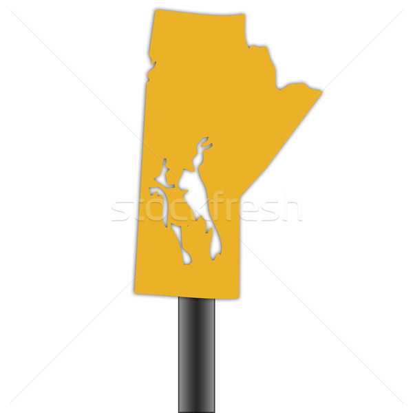 Manitioba map road sign Stock photo © speedfighter