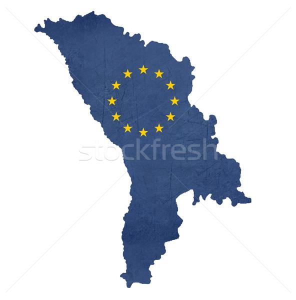 Európai zászló térkép Moldova izolált fehér Stock fotó © speedfighter