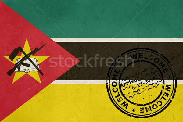 приветствую Мозамбик флаг паспорта штампа путешествия Сток-фото © speedfighter