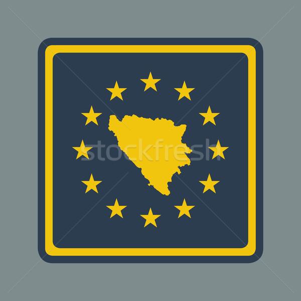 Bosznia és Hercegovina európai zászló gomb reszponzív web design Stock fotó © speedfighter