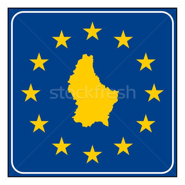 Luxemburg europese knop kaart Blauw Stockfoto © speedfighter