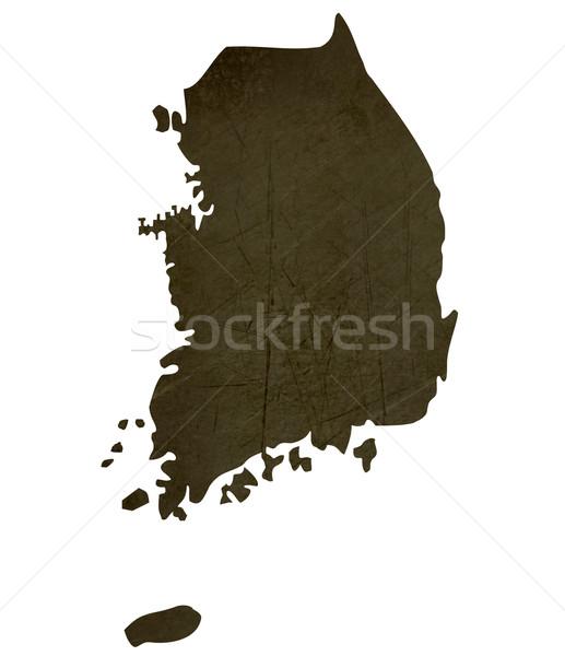 Escuro mapa Coréia do Sul isolado branco Foto stock © speedfighter