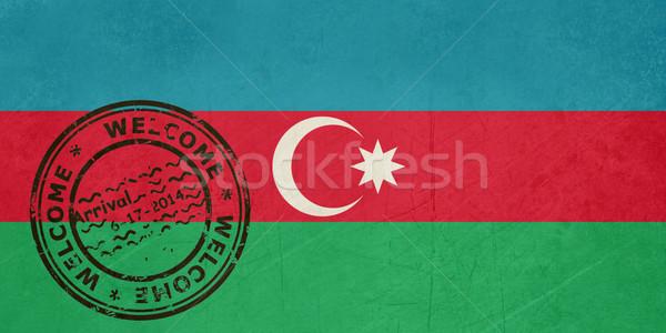 Bienvenida Azerbaiyán bandera pasaporte sello viaje Foto stock © speedfighter