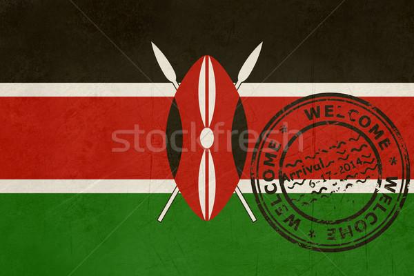 Bienvenue Kenya pavillon passeport tampon Voyage Photo stock © speedfighter