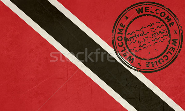Welcome to Trinidad and Tobago flag with passport stamp Stock photo © speedfighter