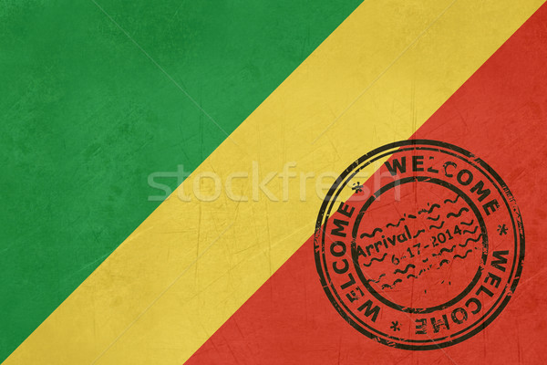 Welcome to the Republic of the Congo flag with passport stamp Stock photo © speedfighter