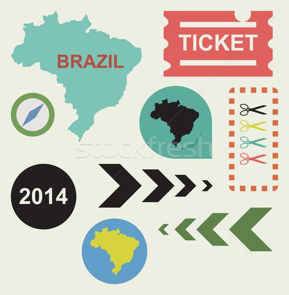 Бразилия 2014 веб-дизайна иконки изолированный спорт Сток-фото © speedfighter