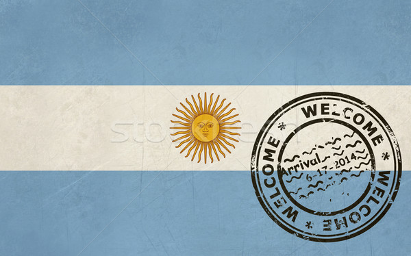Welcome to Argentina flag with passport stamp Stock photo © speedfighter
