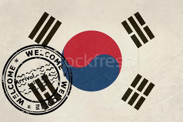 приветствую Южная Корея флаг паспорта штампа путешествия Сток-фото © speedfighter