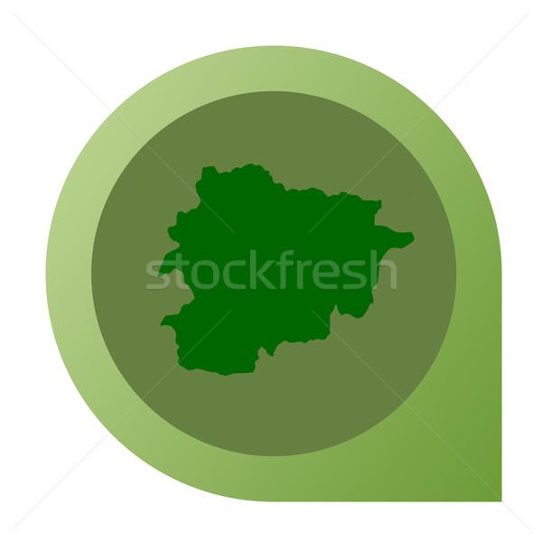 Geïsoleerd Andorra kaart fiche pin web design Stockfoto © speedfighter
