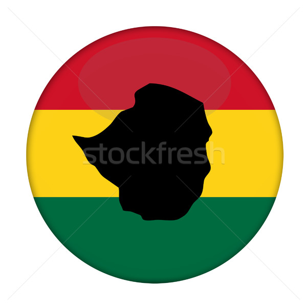 Zimbabwe map on a Rastafarian flag button Stock photo © speedfighter