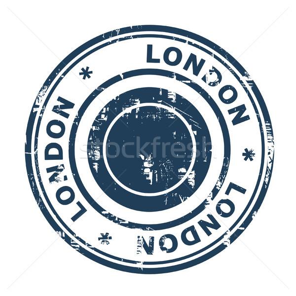 Foto stock: Londres · viajar · carimbo · isolado · branco · azul