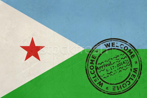 Widziane Dżibuti banderą paszport pieczęć podróży Zdjęcia stock © speedfighter
