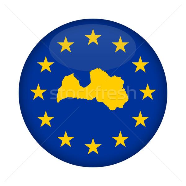 Lettonie carte européenne Union pavillon bouton Photo stock © speedfighter