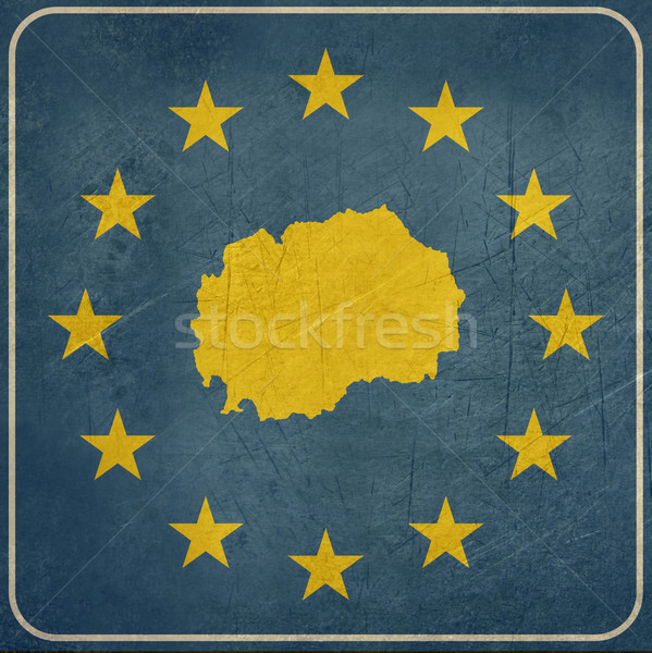 Гранж Македонии европейский кнопки карта синий Сток-фото © speedfighter