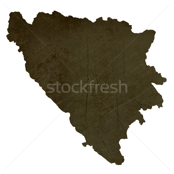 Escuro mapa Bósnia-Herzegovina isolado branco Foto stock © speedfighter