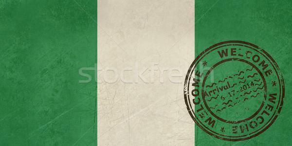 Widziane Nigeria banderą paszport pieczęć podróży Zdjęcia stock © speedfighter