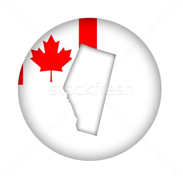 Stock photo: Canada Alberta state map flag button