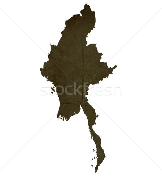 Donkere kaart birma geïsoleerd witte Stockfoto © speedfighter