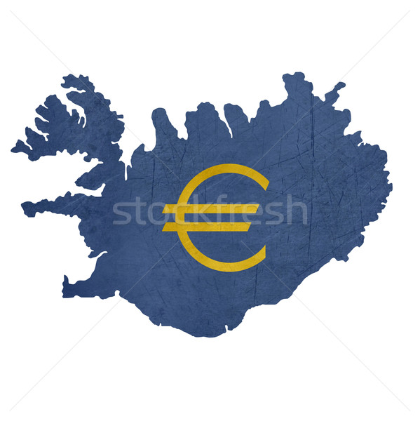 European currency symbol on map of Iceland Stock photo © speedfighter