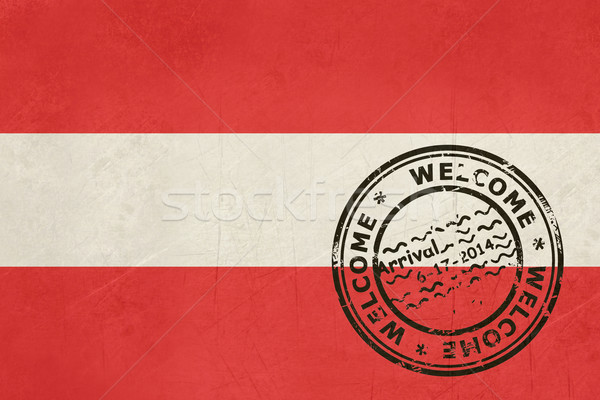 Welcome to Austria flag with passport stamp Stock photo © speedfighter