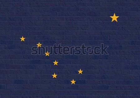 Alaszka zászló téglafal Amerika izolált fehér Stock fotó © speedfighter