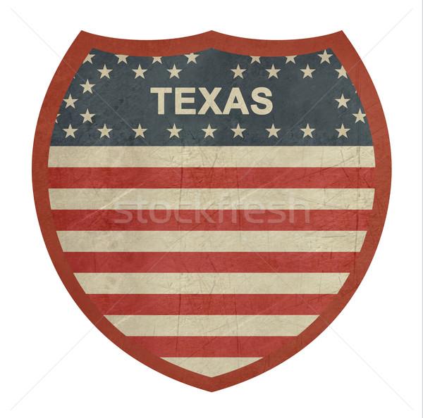 Grunge Texas zwischenstaatlichen Autobahn Zeichen isoliert Stock foto © speedfighter