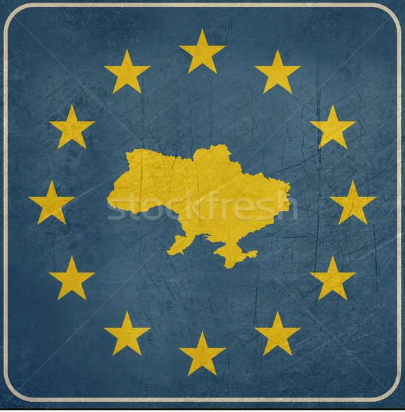 Grunge Ucrânia placa sinalizadora europeu botão isolado Foto stock © speedfighter