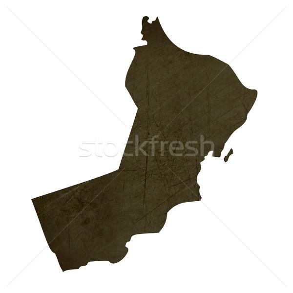 Dark silhouetted map of Oman Stock photo © speedfighter